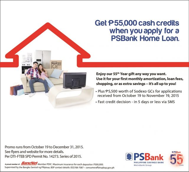 Get PhP55,000 Cash Credits with PSBank Home Loan