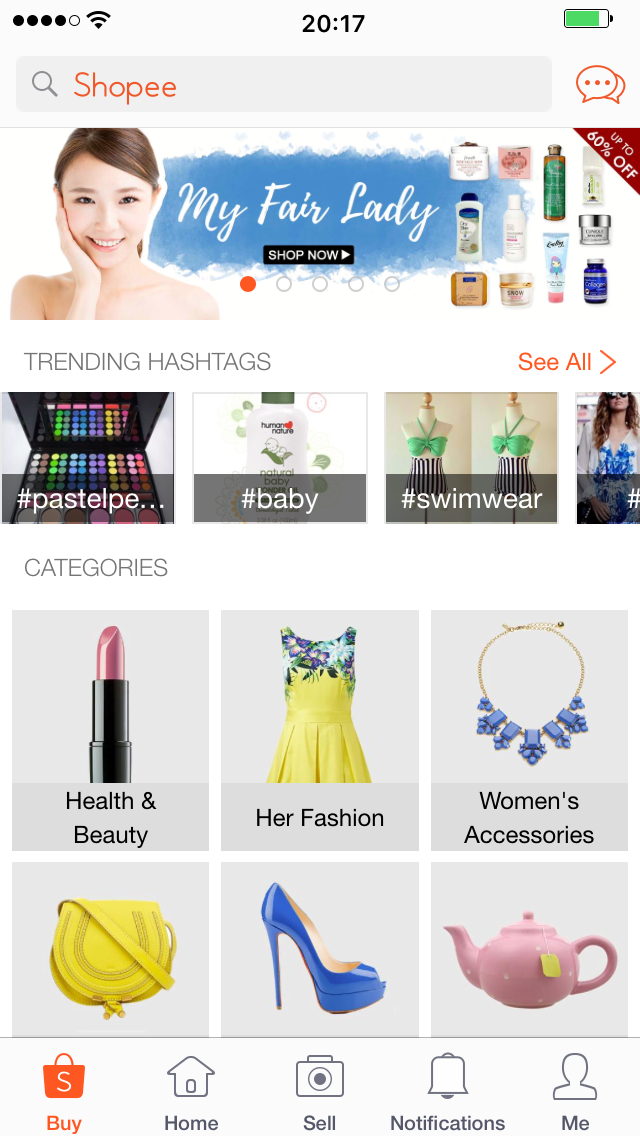 Shopee app screenshot