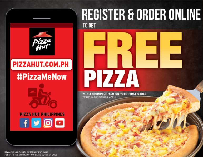 Register and order online to get free pizza! #PizzaMeNow